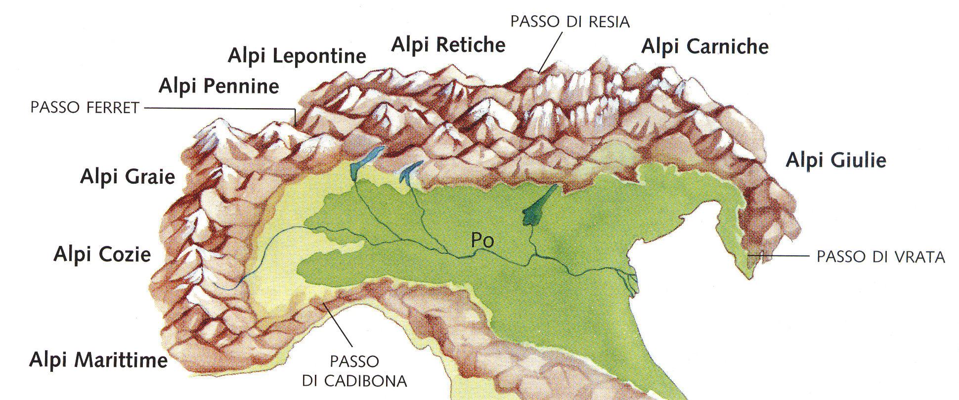 Cartina Dellitalia Alpi E Appennini.Le Alpi E Gli Appenini Imparo
