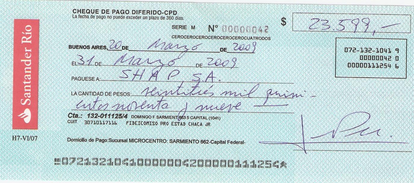 cheque pagares: