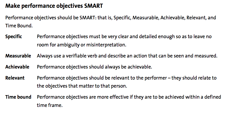 Performance objectives examples