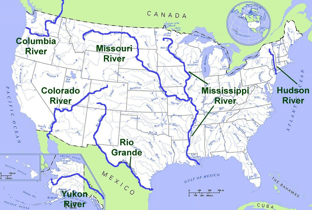 Usa Map Rivers Map Get Image About Maps - Map of the us showing the main rivers